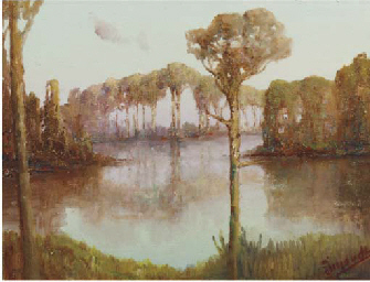 Trees by a pond