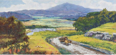 Country road with ox-cart