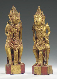 (2) two balinese gilt-wood fig