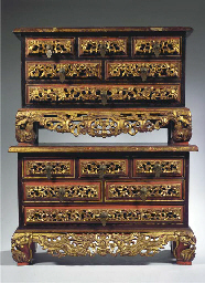 (2) two balinese gilt and red