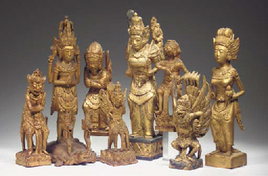 (8) eight balinese gilt wood f