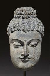 A Gray Schist Face of Buddha