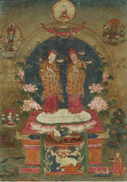 An Unusual Thangka of Two Saky
