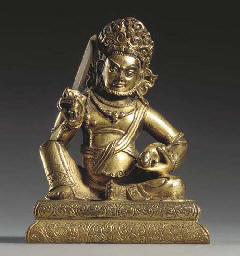 A Gilt Bronze Attendant Figure