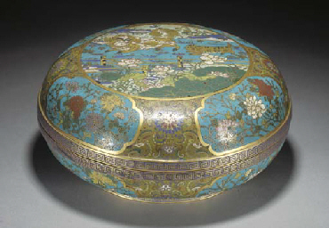 A Chinese cloisonne and gilt-c
