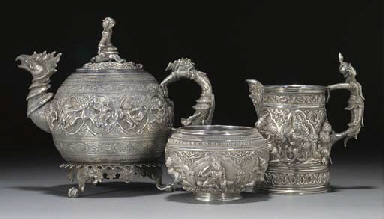 A Burmese silver three piece t