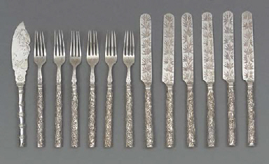 Six pairs of Chinese silver kn