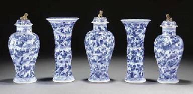 A Chinese blue and white garni