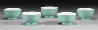 A set of five Chinese turquois