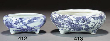 A Chinese blue and white tripo
