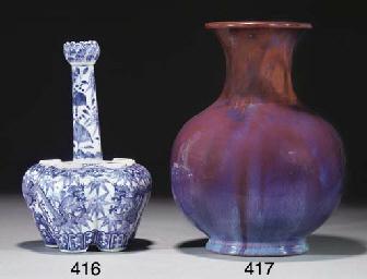 A Chinese flambe glazed balust