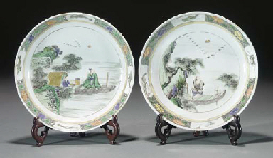 Two Chinese famille verte dish