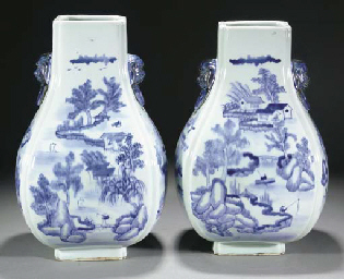 A pair of blue and white fangh