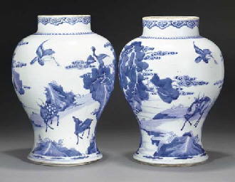 Two blue and white baluster ja