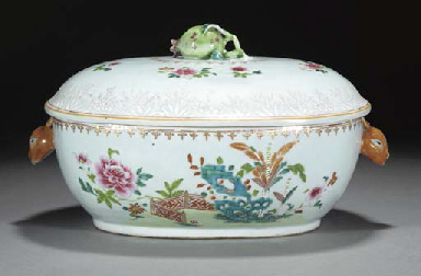 A Chinese famille rose tureen