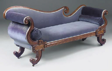 A REGENCY MAHOGANY CHAISE LONG