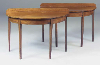 A PAIR OF MAHOGANY AND LINE IN