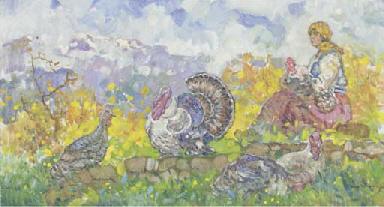 Farm girl tending turkeys