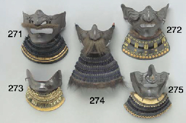 Two Lacquered-Iron Half Masks