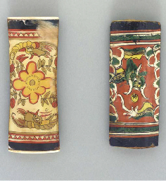 A Painted Ivory and An Oxhorn-