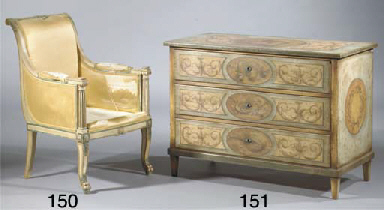 A polychrome-decorated commode