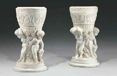 (2) A pair of white marble bas