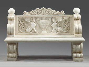 A white marble bench