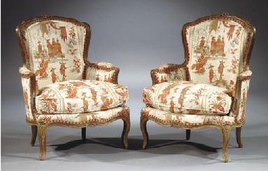 (2) A Louis XV beechwood berge
