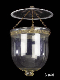 A PAIR OF BELGIAN GLASS LANTER