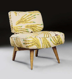 AN UPHOLSTERED BEECHWOOD LOUNG