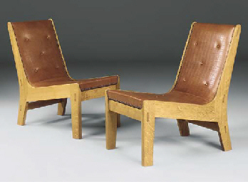 A PAIR OF OAK 'EGYPTO' CHAIRS