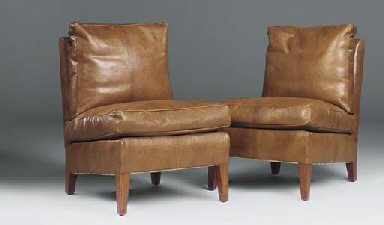 A PAIR OF OAK GOAT LEATHER UPH