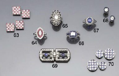 A pair of diamond and ruby cuf