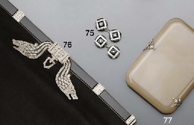 A pair of diamond and onyx cuf