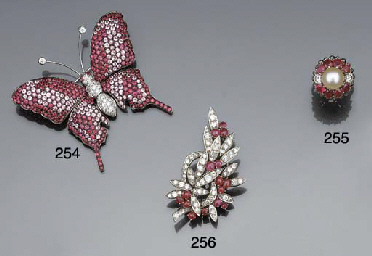 A ruby, diamond and cultured p