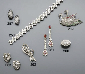 A diamond brooch and a pair of