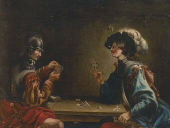Two guardsmen playing cards in
