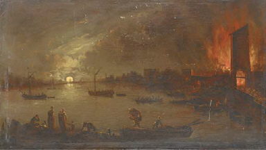 A river landscape by moonlight