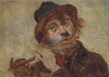 A flute player; and A laughing