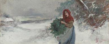 Gathering holly in the snow; a