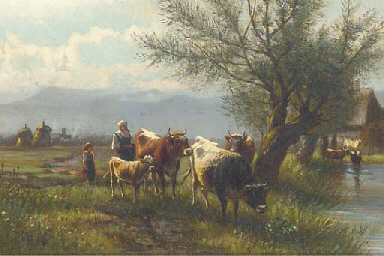 Cattle and figures on a riverb