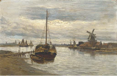 Barges on a lowland estuary
