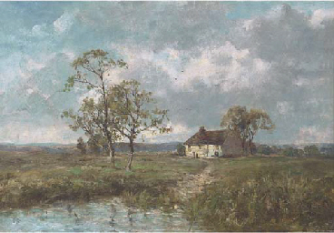 A cottage by a pond on the edg
