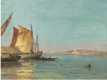 Sailing ships on the Bosphorus