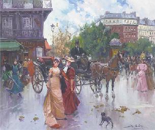 Elegant figures before a carri