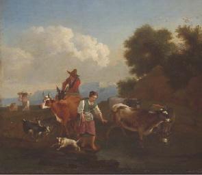 Paysans et leur troupeau trave