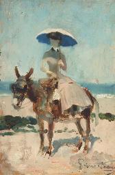 Femme élégante à dos d'âne sur