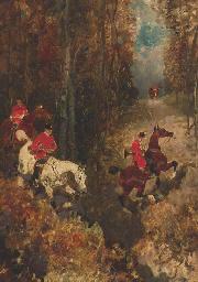 Cavaliers dans la forêt