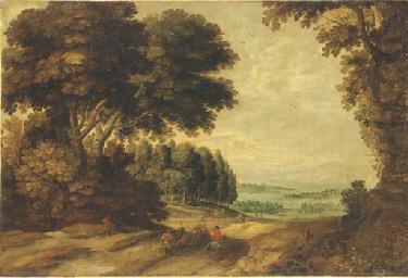 Paysage boisé avec des cavalie