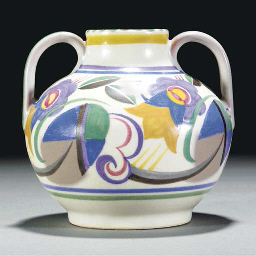 A POOLE POTTERY TWIN-HANDLED V